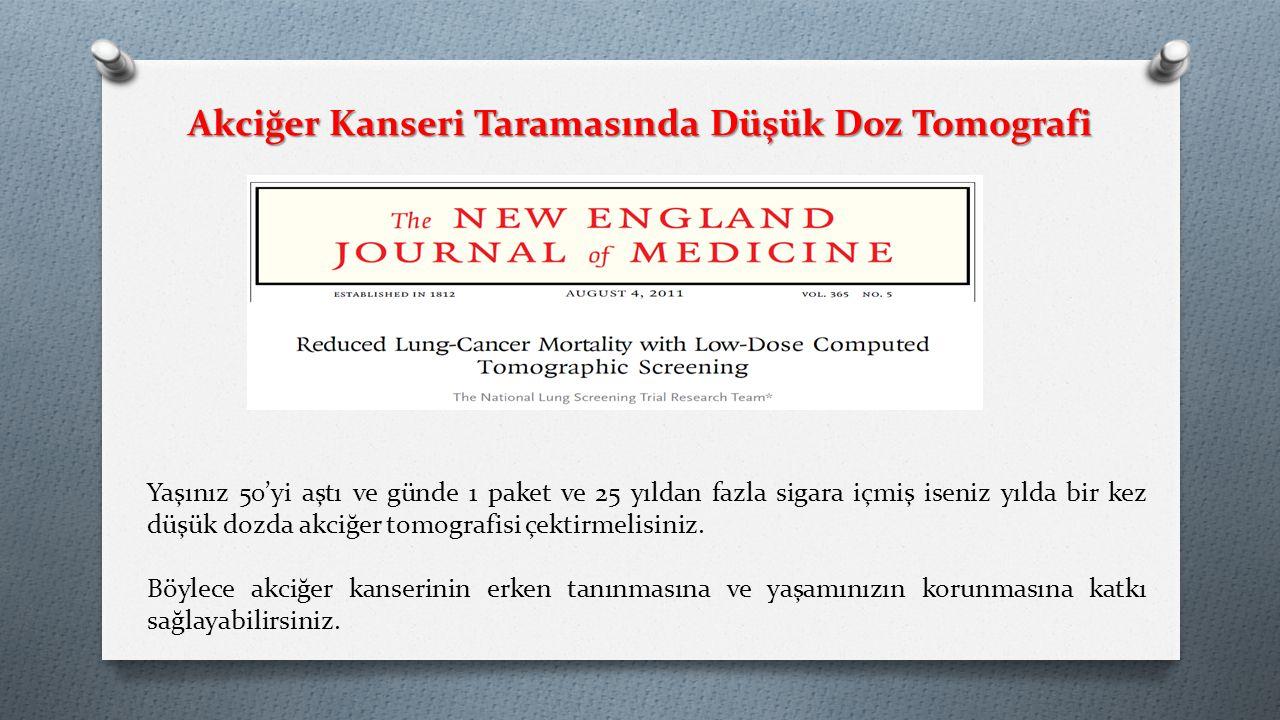 Akciğer Kanseri Taramasında Düşük Doz Tomografi Yaşınız 50'yi aştı ve günde 1 paket ve 25 yıldan fazla sigara içmiş iseniz yılda bir kez düşük dozda akciğer tomografisi çektirmelisiniz.
