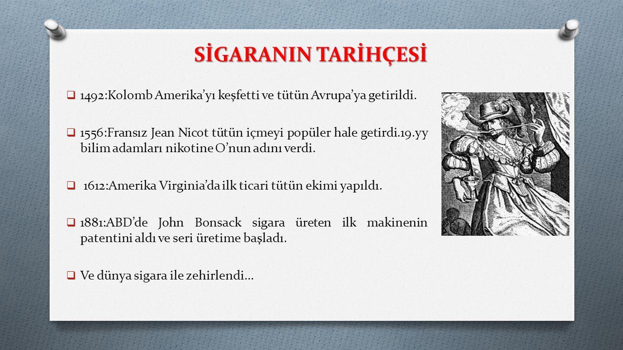 SİGARANIN TARİHÇESİ  1492:Kolomb Amerika'yı keşfetti ve tütün Avrupa'ya getirildi.  1556:Fransız Jean Nicot tütün içmeyi popüler hale getirdi.19.yy