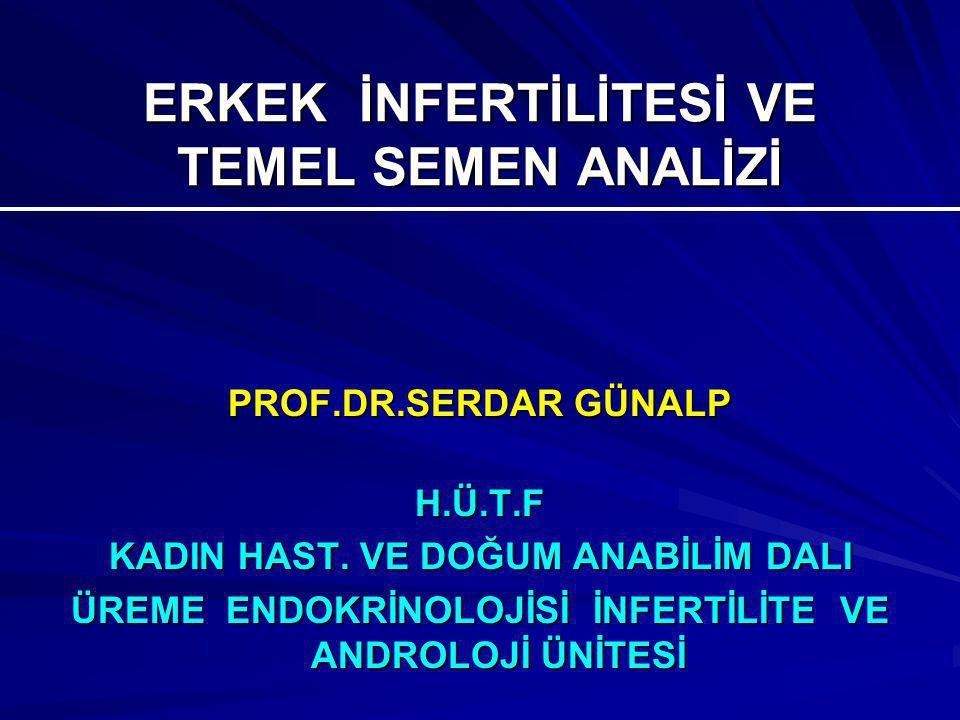 ERKEK İNFERTİLİTESİ VE TEMEL SEMEN ANALİZİ PROF.DR.SERDAR GÜNALP H.Ü.T.F KADIN HAST.