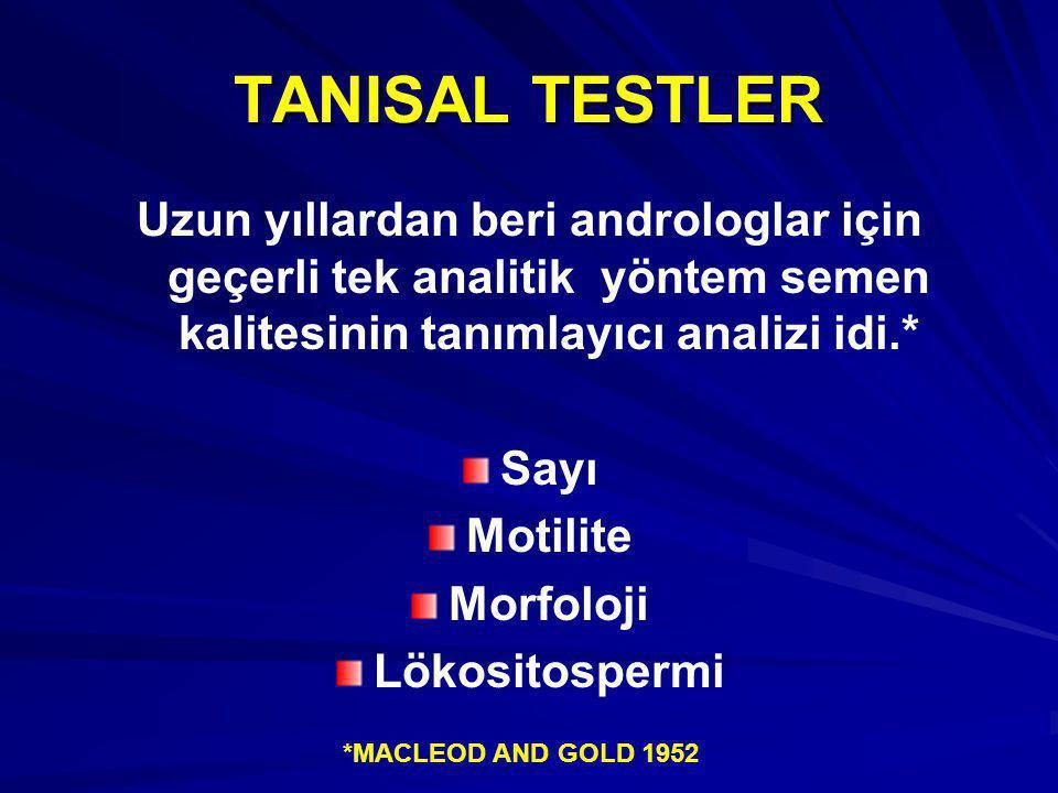 TANISAL TESTLER Uzun yıllardan beri androloglar için geçerli tek analitik yöntem semen kalitesinin tanımlayıcı analizi idi.* Sayı Motilite Morfoloji Lökositospermi Uzun yıllardan beri androloglar için geçerli tek analitik yöntem semen kalitesinin tanımlayıcı analizi idi.* Sayı Motilite Morfoloji Lökositospermi *MACLEOD AND GOLD 1952