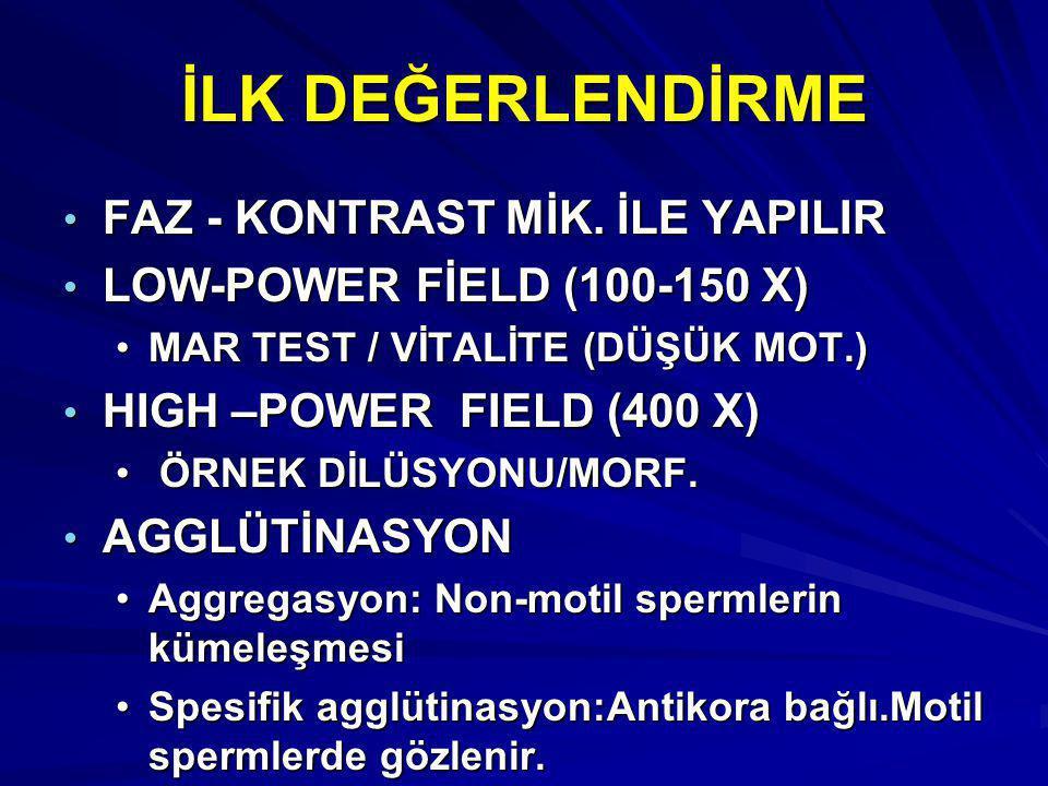 İLK DEĞERLENDİRME FAZ - KONTRAST MİK. İLE YAPILIR FAZ - KONTRAST MİK. İLE YAPILIR LOW-POWER FİELD (100-150 X) LOW-POWER FİELD (100-150 X) MAR TEST / V