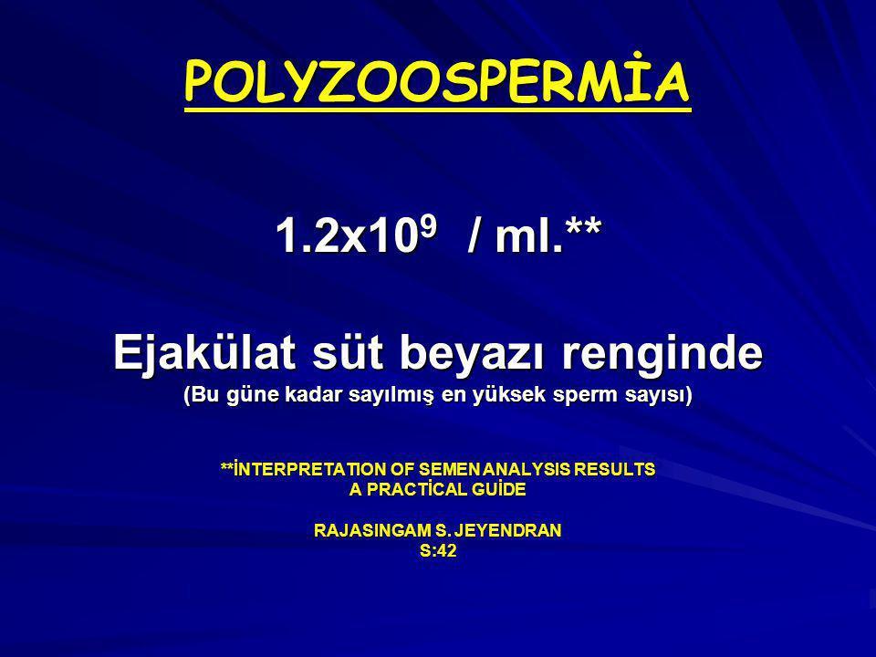 POLYZOOSPERMİA 1.2x10 9 / ml.** Ejakülat süt beyazı renginde (Bu güne kadar sayılmış en yüksek sperm sayısı) **İNTERPRETATION OF SEMEN ANALYSIS RESULTS A PRACTİCAL GUİDE RAJASINGAM S.