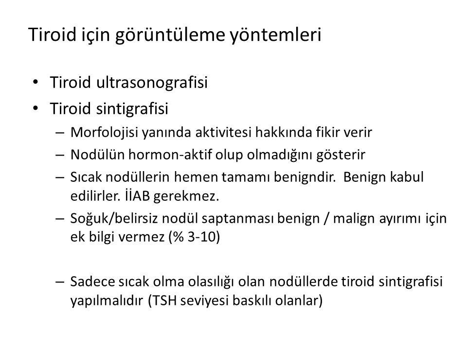 Tiroid için görüntüleme yöntemleri Tiroid ultrasonografisi Tiroid sintigrafisi – Morfolojisi yanında aktivitesi hakkında fikir verir – Nodülün hormon-