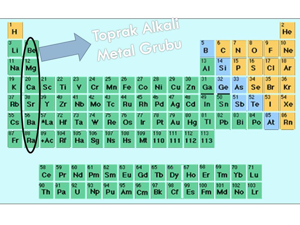 Toprak Alkali Metaller 6 element içerir; Baryum (Ba) Kalsiyum (Ca) Berilyum (Be) Radyum (Ra) Stronsiyum (St) Magnezyum (Mg)