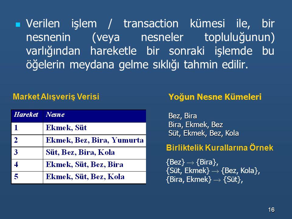 16 Verilen işlem / transaction kümesi ile, bir nesnenin (veya nesneler topluluğunun) varlığından hareketle bir sonraki işlemde bu öğelerin meydana gel