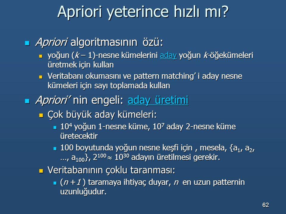 62 Apriori yeterince hızlı mı? Apriori algoritmasının özü: Apriori algoritmasının özü: yoğun (k – 1)-nesne kümelerini aday yoğun k-öğekümeleri üretmek