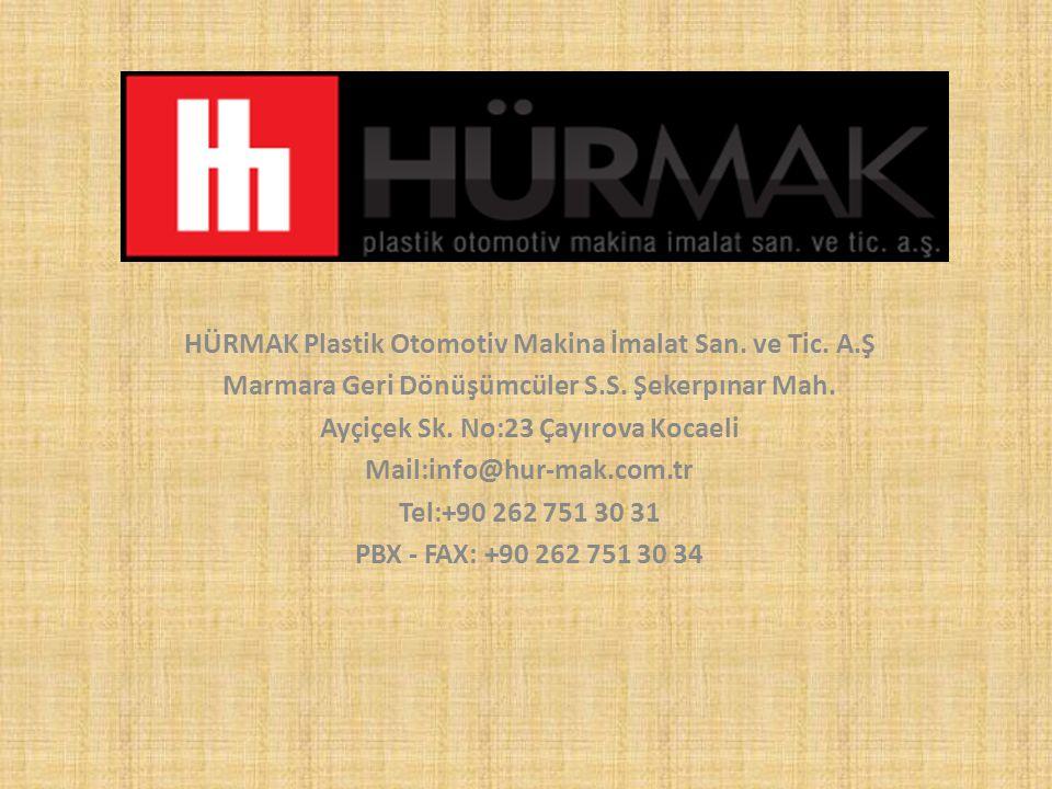 HÜRMAK Plastik Otomotiv Makina İmalat San. ve Tic. A.Ş Marmara Geri Dönüşümcüler S.S. Şekerpınar Mah. Ayçiçek Sk. No:23 Çayırova Kocaeli Mail:info@hur