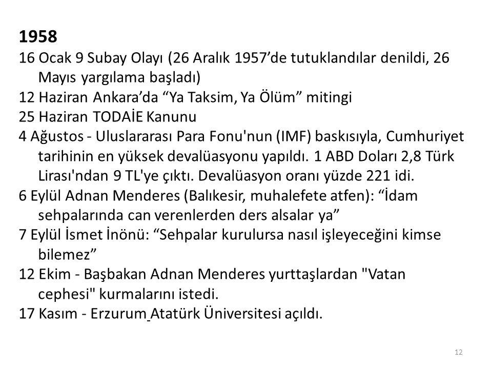 """1958 16 Ocak 9 Subay Olayı (26 Aralık 1957'de tutuklandılar denildi, 26 Mayıs yargılama başladı) 12 Haziran Ankara'da """"Ya Taksim, Ya Ölüm"""" mitingi 25"""