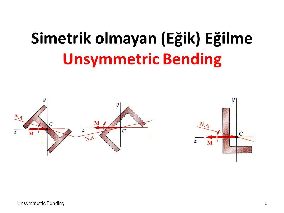 Unsymmetric Bending Simetrik olmayan (Eğik) Eğilme Unsymmetric Bending 1