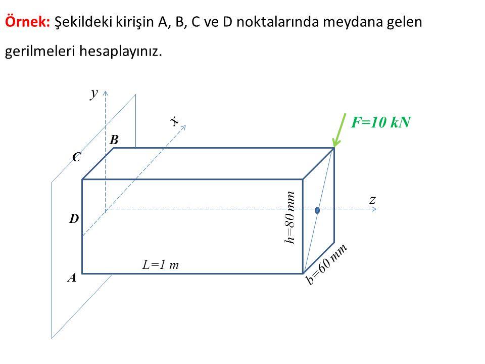 z x y b=60 mm h=80 mm L=1 m F=10 kN A B Örnek: Şekildeki kirişin A, B, C ve D noktalarında meydana gelen gerilmeleri hesaplayınız. C D