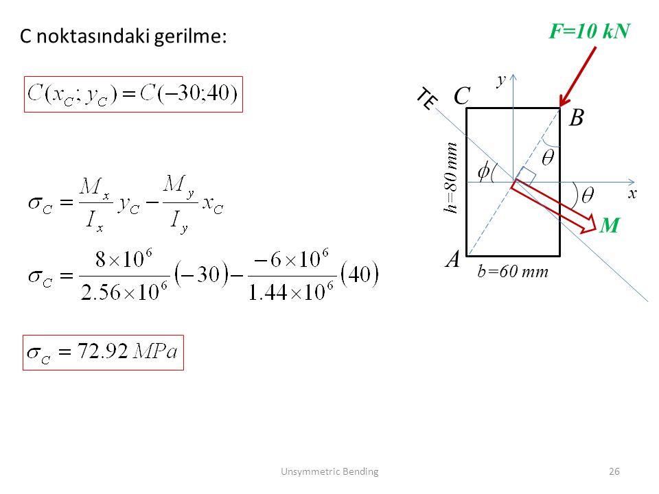 Unsymmetric Bending26 b=60 mm x y h=80 mm F=10 kN M A B TE C noktasındaki gerilme: C