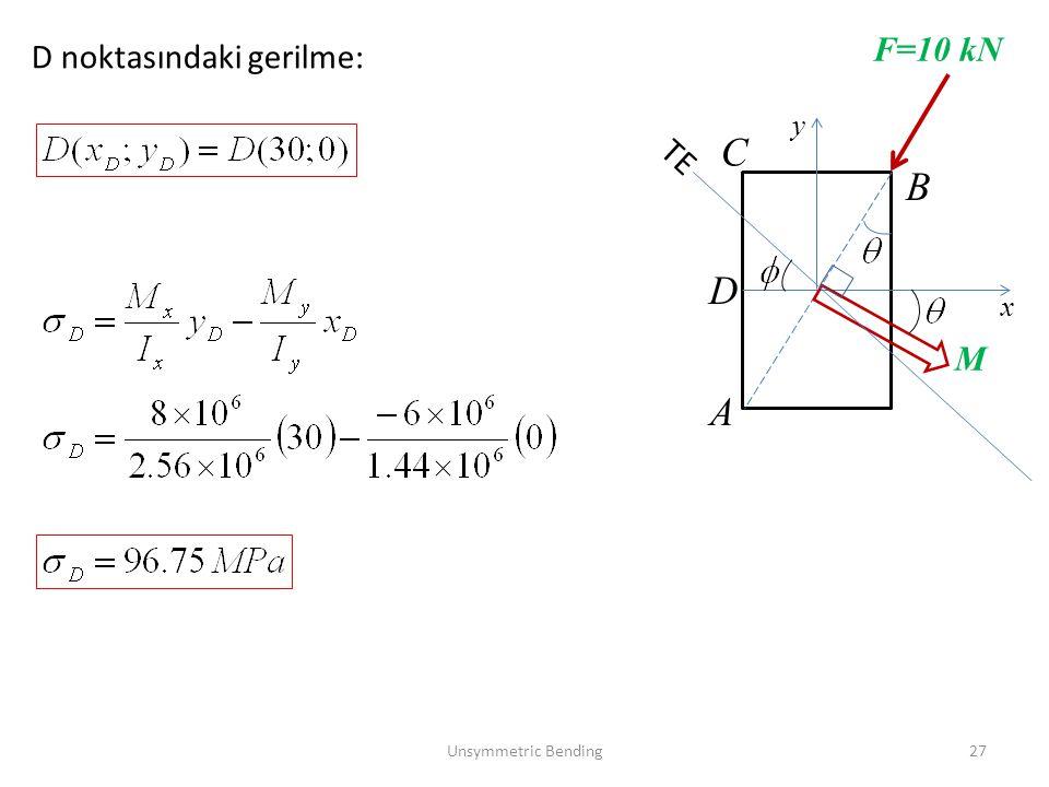 Unsymmetric Bending27 x y F=10 kN M A B TE D noktasındaki gerilme: C D