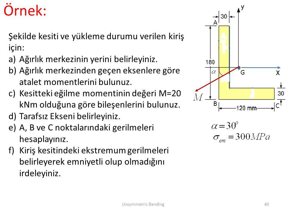 Örnek: Şekilde kesiti ve yükleme durumu verilen kiriş için: a)Ağırlık merkezinin yerini belirleyiniz. b)Ağırlık merkezinden geçen eksenlere göre atale