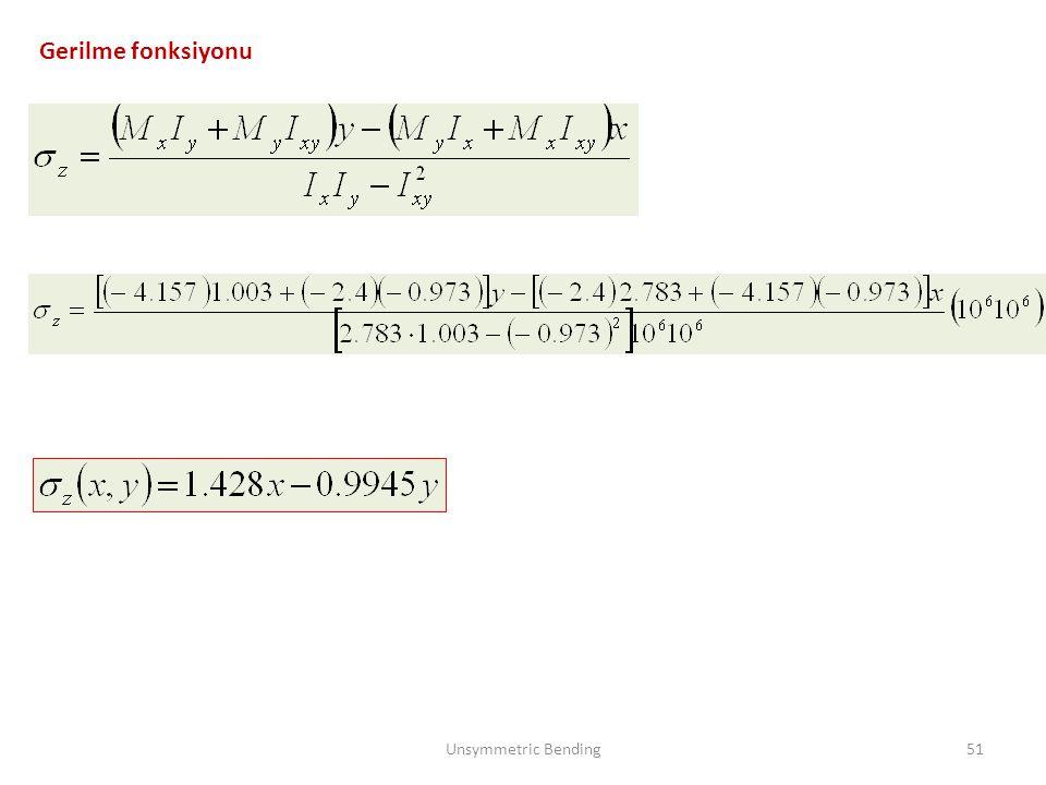 Gerilme fonksiyonu Unsymmetric Bending51