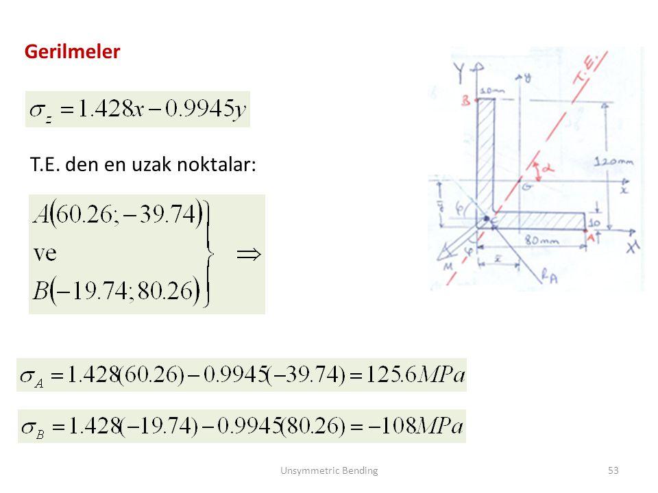 Gerilmeler Unsymmetric Bending53 T.E. den en uzak noktalar: