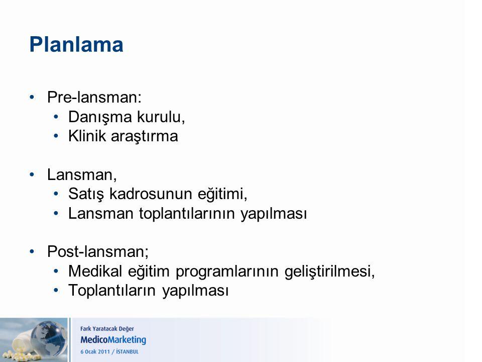 Planlama Pre-lansman: Danışma kurulu, Klinik araştırma Lansman, Satış kadrosunun eğitimi, Lansman toplantılarının yapılması Post-lansman; Medikal eğit