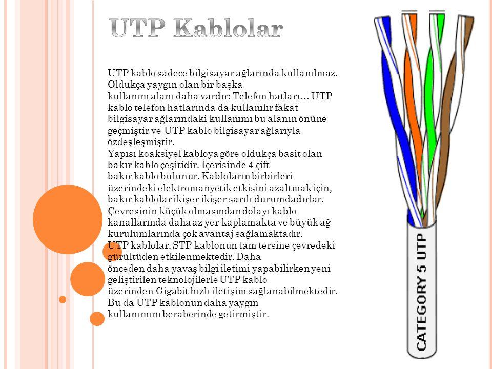 UTP kablo sadece bilgisayar ağlarında kullanılmaz. Oldukça yaygın olan bir başka kullanım alanı daha vardır: Telefon hatları… UTP kablo telefon hatlar