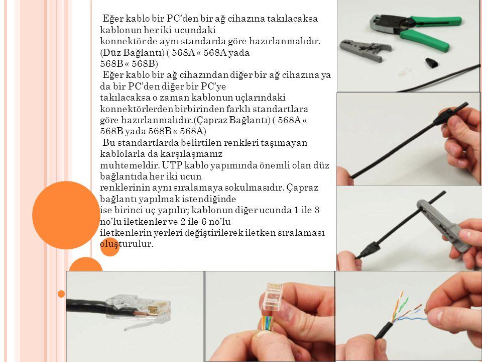 Eğer kablo bir PC'den bir ağ cihazına takılacaksa kablonun her iki ucundaki konnektör de aynı standarda göre hazırlanmalıdır. (Düz Bağlantı) ( 568A «