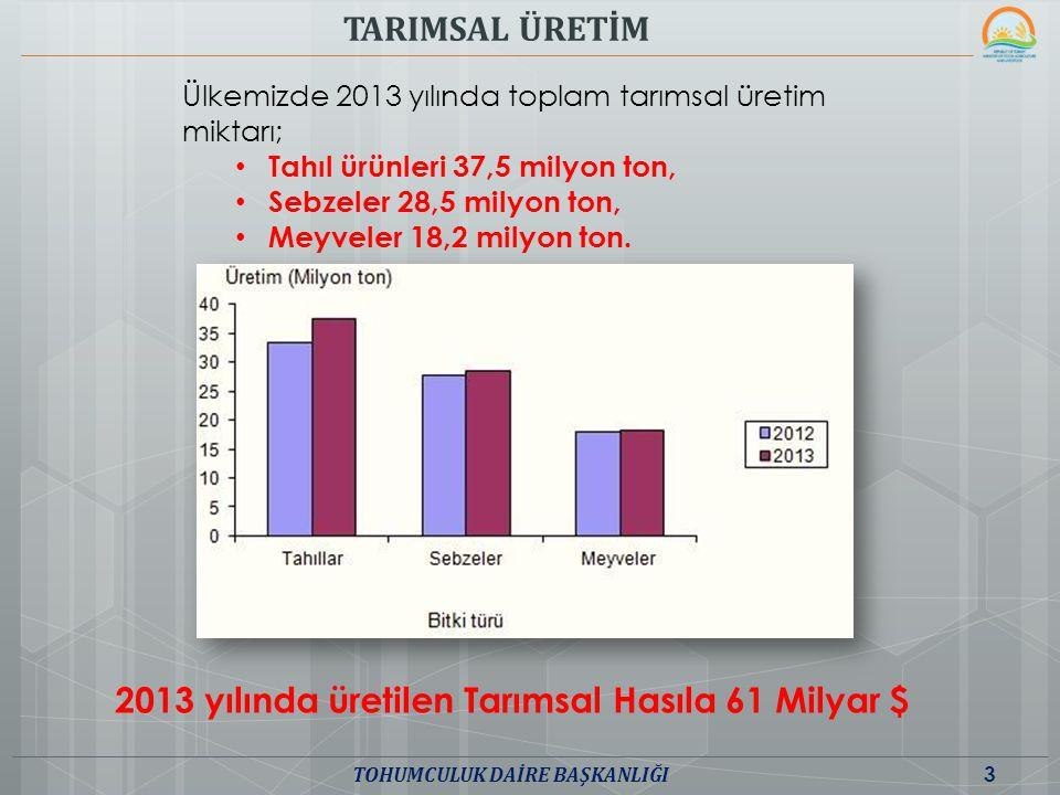 Ülkemizde 2013 yılında toplam tarımsal üretim miktarı; Tahıl ürünleri 37,5 milyon ton, Sebzeler 28,5 milyon ton, Meyveler 18,2 milyon ton. TARIMSAL ÜR