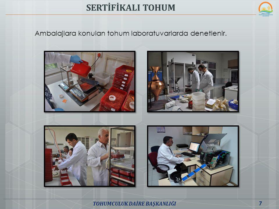 SERTİFİKALI TOHUM Ambalajlara konulan tohum laboratuvarlarda denetlenir. 7 TOHUMCULUK DAİRE BAŞKANLIĞI