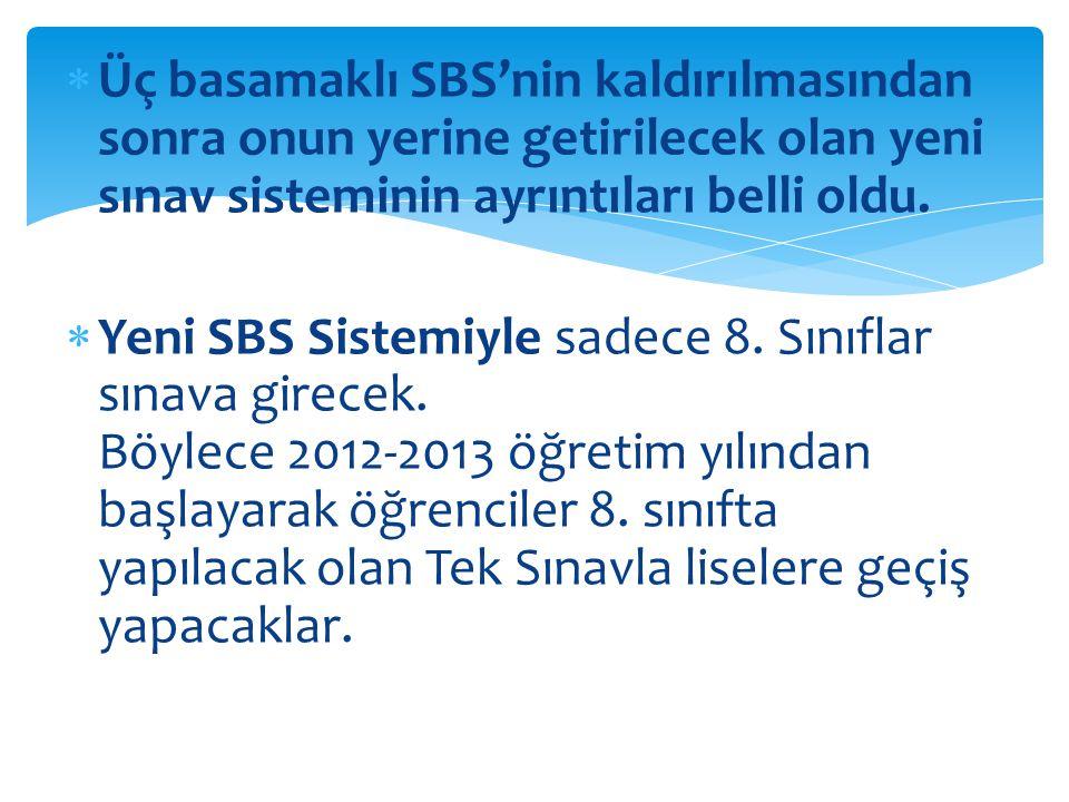  Üç basamaklı SBS'nin kaldırılmasından sonra onun yerine getirilecek olan yeni sınav sisteminin ayrıntıları belli oldu.  Yeni SBS Sistemiyle sadece