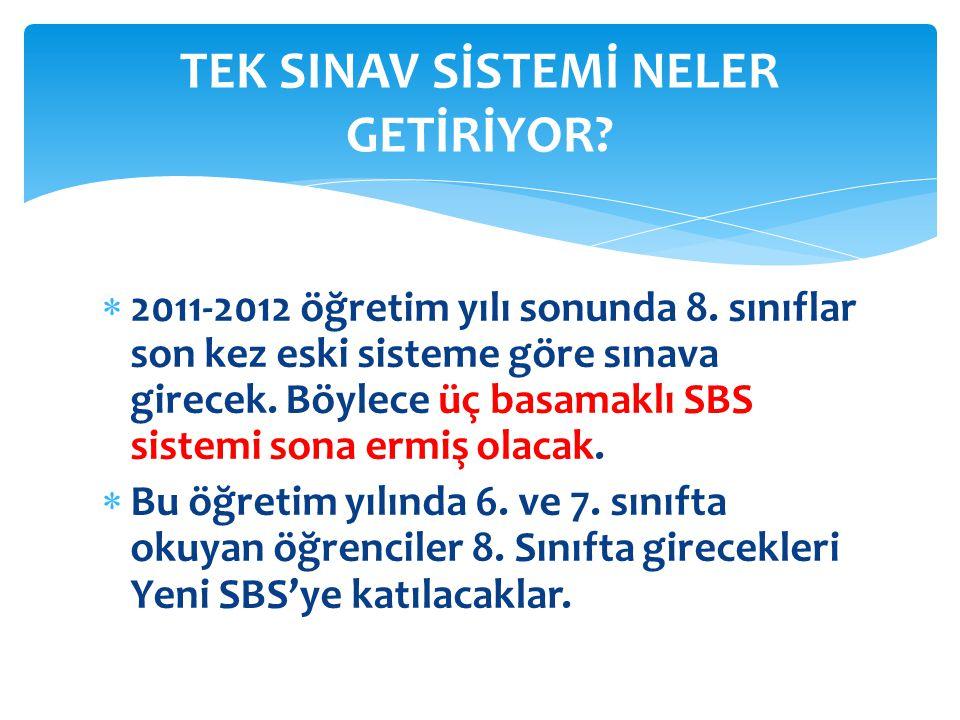  2011-2012 öğretim yılı sonunda 8.sınıflar son kez eski sisteme göre sınava girecek.