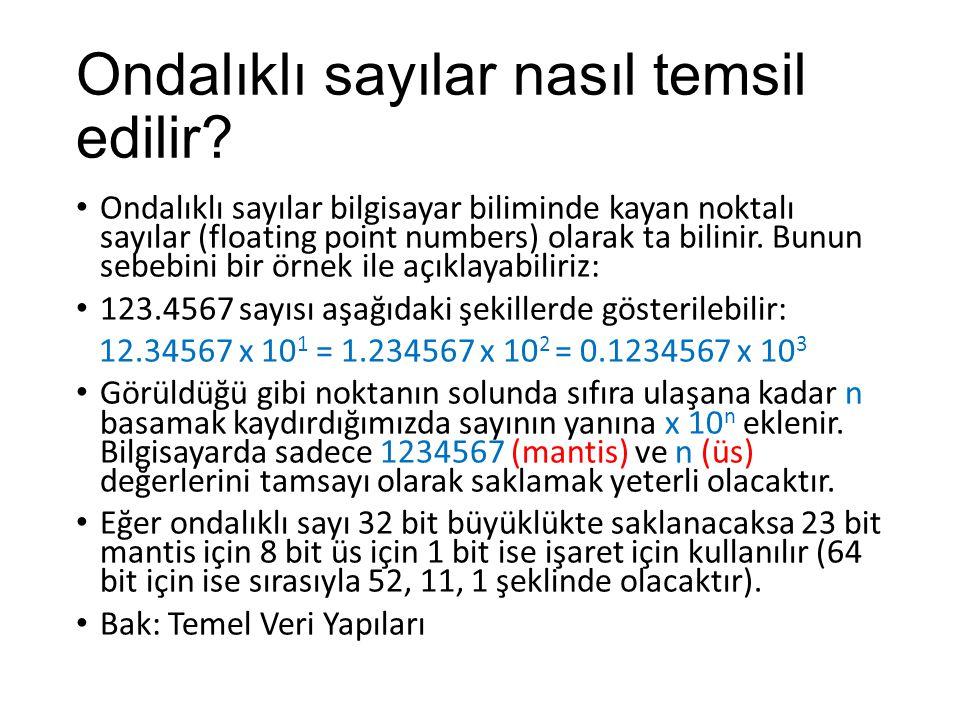 Ondalıklı sayılar nasıl temsil edilir? Ondalıklı sayılar bilgisayar biliminde kayan noktalı sayılar (floating point numbers) olarak ta bilinir. Bunun