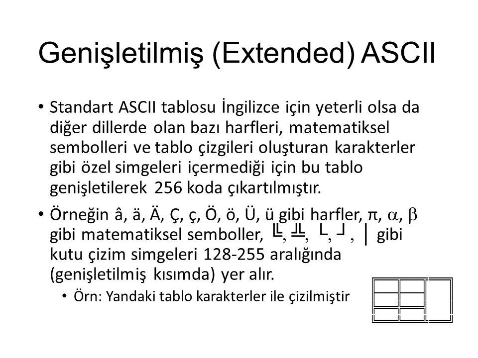 Genişletilmiş (Extended) ASCII Standart ASCII tablosu İngilizce için yeterli olsa da diğer dillerde olan bazı harfleri, matematiksel sembolleri ve tablo çizgileri oluşturan karakterler gibi özel simgeleri içermediği için bu tablo genişletilerek 256 koda çıkartılmıştır.
