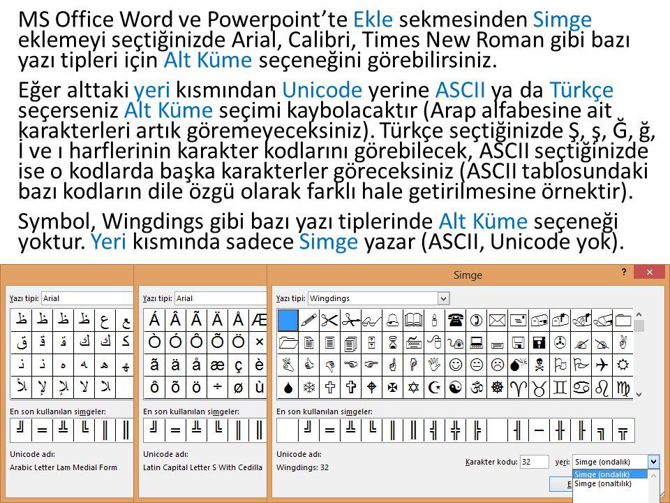 MS Office Word ve Powerpoint'te Ekle sekmesinden Simge eklemeyi seçtiğinizde Arial, Calibri, Times New Roman gibi bazı yazı tipleri için Alt Küme seçe