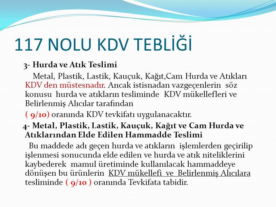 117 NOLU KDV TEBLİĞİ 3- Hurda ve Atık Teslimi Metal, Plastik, Lastik, Kauçuk, Kağıt,Cam Hurda ve Atıkları KDV den müstesnadır. Ancak istisnadan vazgeç