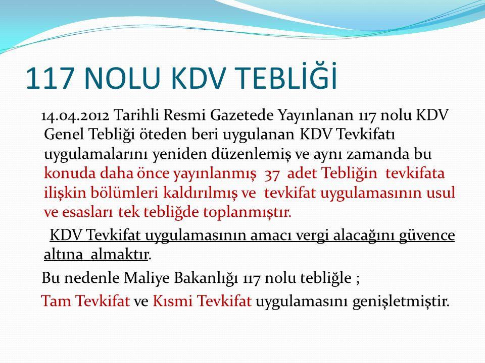 117 NOLU KDV TEBLİĞİ 14.04.2012 Tarihli Resmi Gazetede Yayınlanan 117 nolu KDV Genel Tebliği öteden beri uygulanan KDV Tevkifatı uygulamalarını yenide
