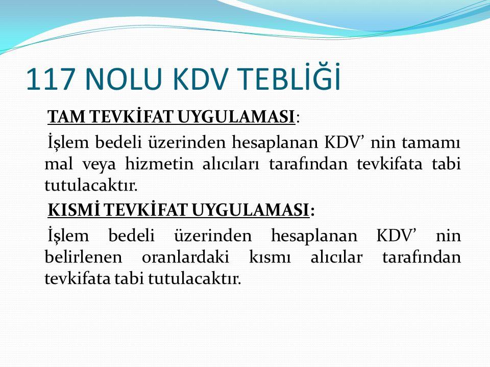 117 NOLU KDV TEBLİĞİ 12- Her Türlü Baskı ve Basım Hizmetleri Bu tebliğde Belirlenmiş Alıcılar olarak bildirilen kurum ve kuruluşlara karşı ifa edilen Baskı ve Basım Hizmetleri bu alıcılar tarafından (5/10 ) oranında KDV tevkifatına tabi olacaktır.