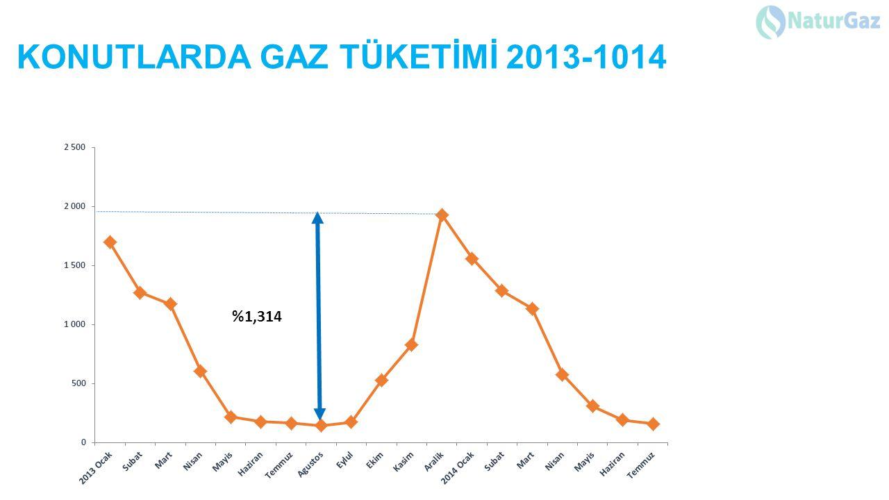 KONUTLARDA GAZ TÜKETİMİ 2013-1014 %1,314