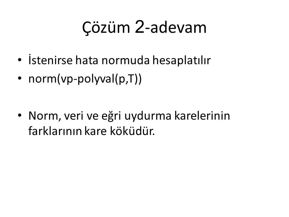 Çözüm 2 -adevam İstenirse hata normuda hesaplatılır norm(vp-polyval(p,T)) Norm, veri ve eğri uydurma karelerinin farklarının kare köküdür.