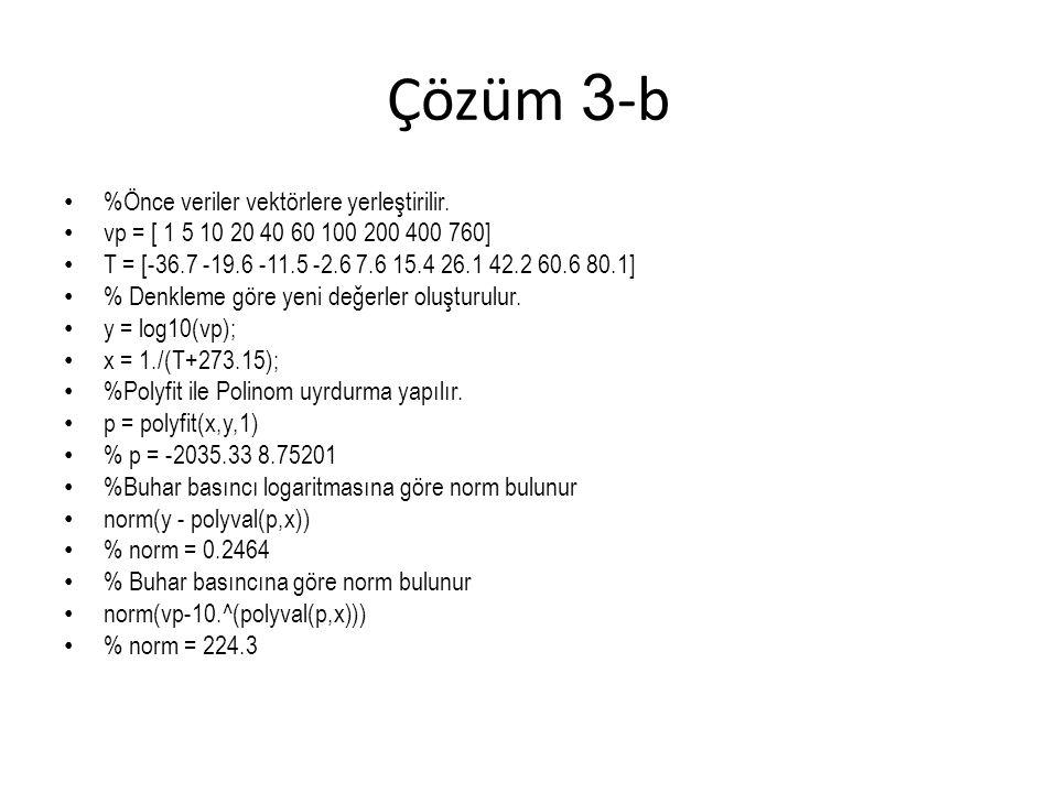 Çözüm 3 -b %Önce veriler vektörlere yerleştirilir. vp = [ 1 5 10 20 40 60 100 200 400 760] T = [-36.7 -19.6 -11.5 -2.6 7.6 15.4 26.1 42.2 60.6 80.1] %