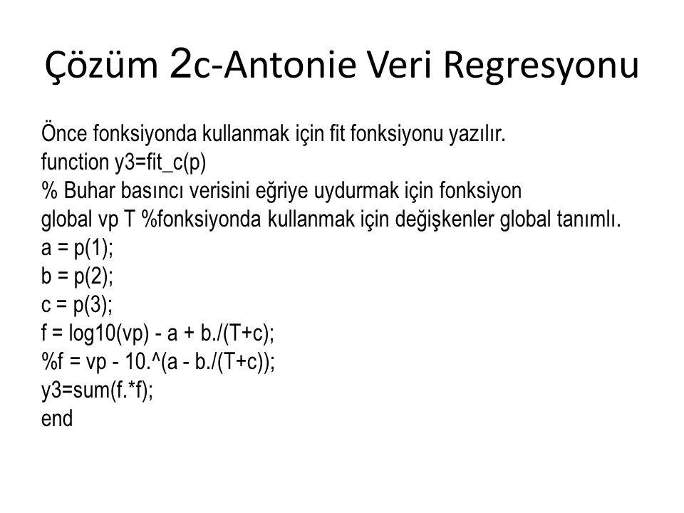 Çözüm 2 c-Antonie Veri Regresyonu Önce fonksiyonda kullanmak için fit fonksiyonu yazılır. function y3=fit_c(p) % Buhar basıncı verisini eğriye uydurma
