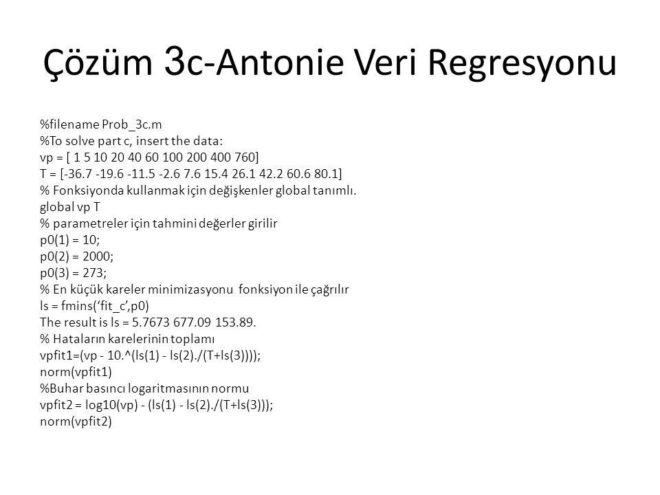 Çözüm 3 c-Antonie Veri Regresyonu %filename Prob_3c.m %To solve part c, insert the data: vp = [ 1 5 10 20 40 60 100 200 400 760] T = [-36.7 -19.6 -11.