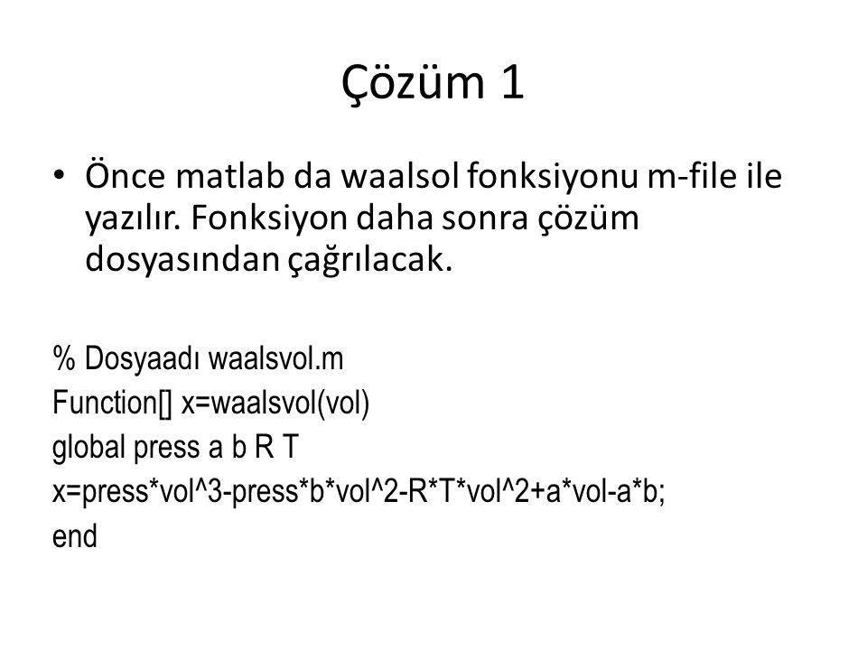 Çözüm 1 Önce matlab da waalsol fonksiyonu m-file ile yazılır. Fonksiyon daha sonra çözüm dosyasından çağrılacak. % Dosyaadı waalsvol.m Function[] x=wa