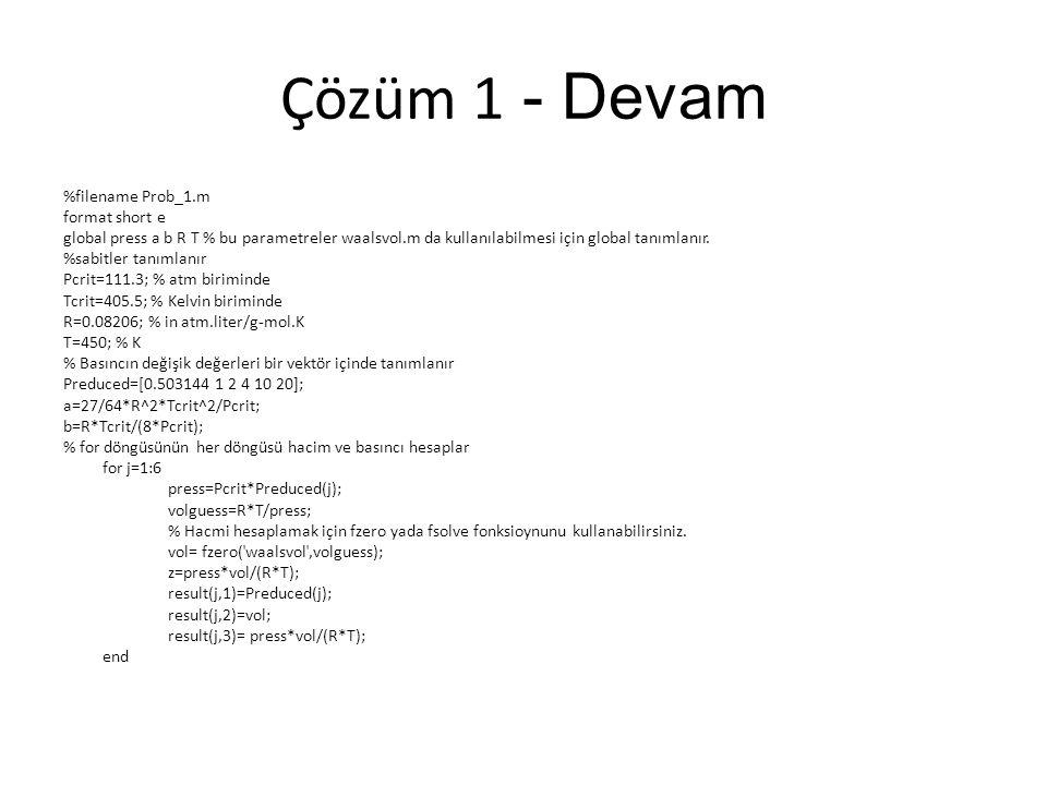 Çözüm 3 c-Antonie Veri Regresyonu %filename Prob_3c.m %To solve part c, insert the data: vp = [ 1 5 10 20 40 60 100 200 400 760] T = [-36.7 -19.6 -11.5 -2.6 7.6 15.4 26.1 42.2 60.6 80.1] % Fonksiyonda kullanmak için değişkenler global tanımlı.