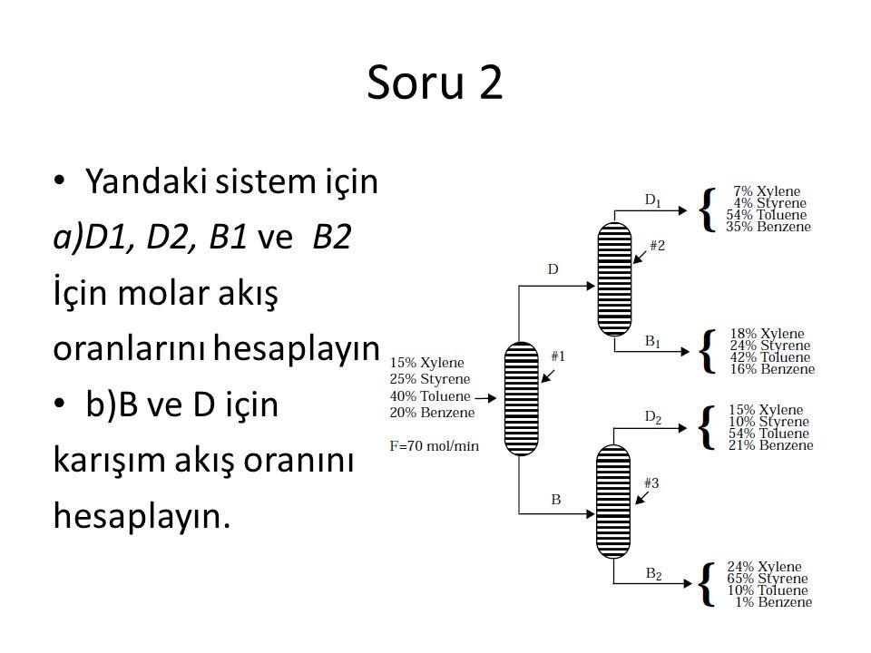 Soru 2 Yandaki sistem için a)D1, D2, B1 ve B2 İçin molar akış oranlarını hesaplayın b)B ve D için karışım akış oranını hesaplayın.