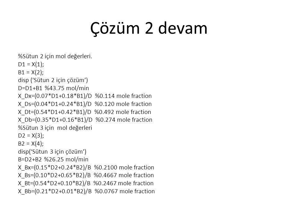 Çözüm 2 devam %Sütun 2 için mol değerleri. D1 = X(1); B1 = X(2); disp ('Sütun 2 için çözüm') D=D1+B1 %43.75 mol/min X_Dx=(0.07*D1+0.18*B1)/D %0.114 mo