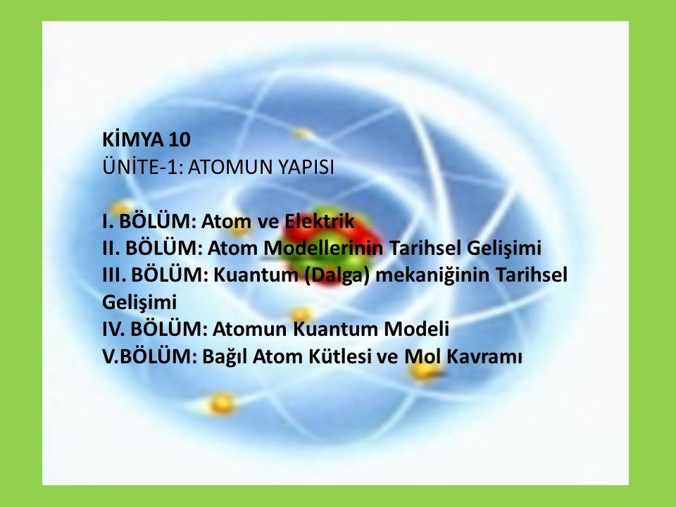 KİMYA 10 ÜNİTE-1: ATOMUN YAPISI I. BÖLÜM: Atom ve Elektrik II. BÖLÜM: Atom Modellerinin Tarihsel Gelişimi III. BÖLÜM: Kuantum (Dalga) mekaniğinin Tari