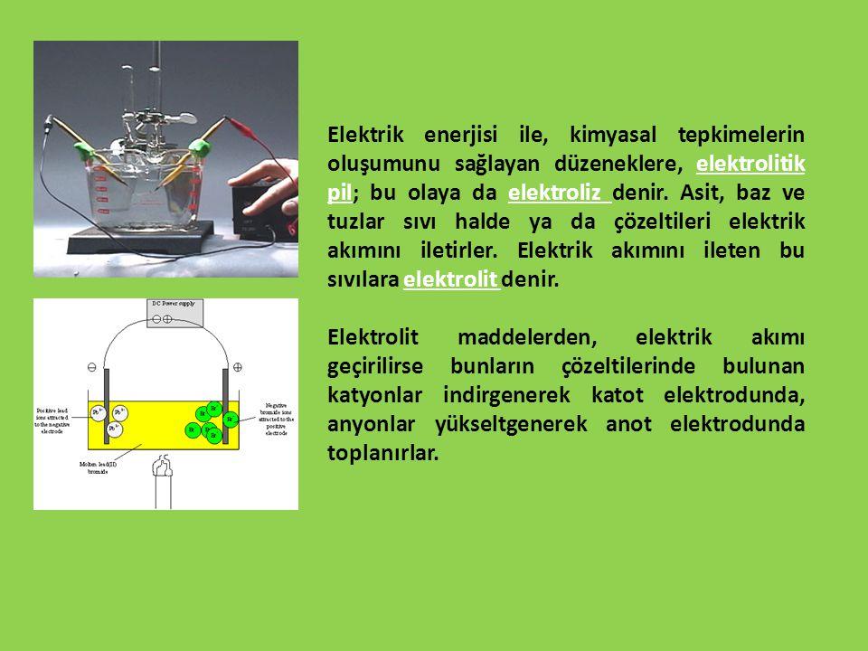 Elektrik enerjisi ile, kimyasal tepkimelerin oluşumunu sağlayan düzeneklere, elektrolitik pil; bu olaya da elektroliz denir. Asit, baz ve tuzlar sıvı