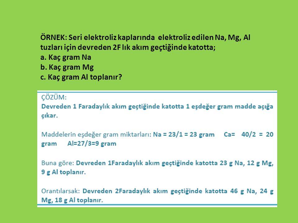 ÖRNEK: Seri elektroliz kaplarında elektroliz edilen Na, Mg, Al tuzları için devreden 2F lık akım geçtiğinde katotta; a. Kaç gram Na b. Kaç gram Mg c.