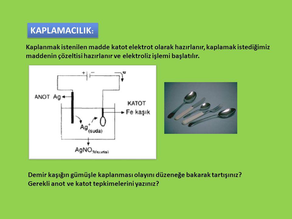 Kaplanmak istenilen madde katot elektrot olarak hazırlanır, kaplamak istediğimiz maddenin çözeltisi hazırlanır ve elektroliz işlemi başlatılır. KAPLAM