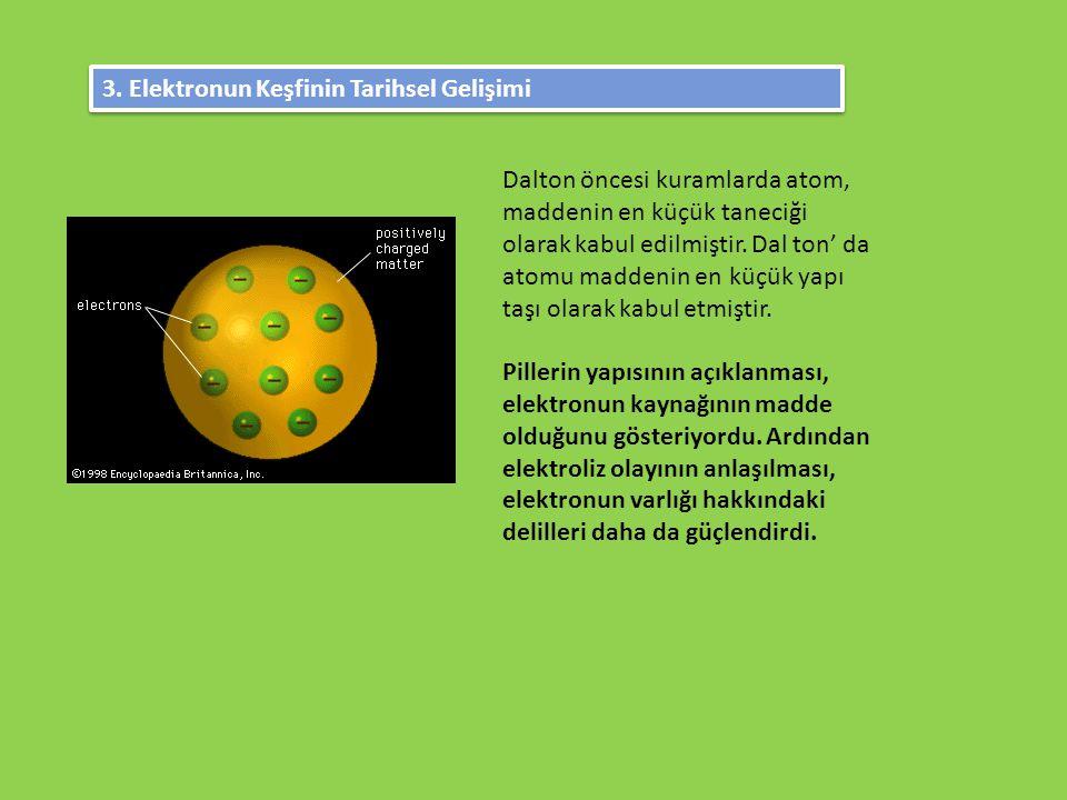 3. Elektronun Keşfinin Tarihsel Gelişimi Dalton öncesi kuramlarda atom, maddenin en küçük taneciği olarak kabul edilmiştir. Dal ton' da atomu maddenin