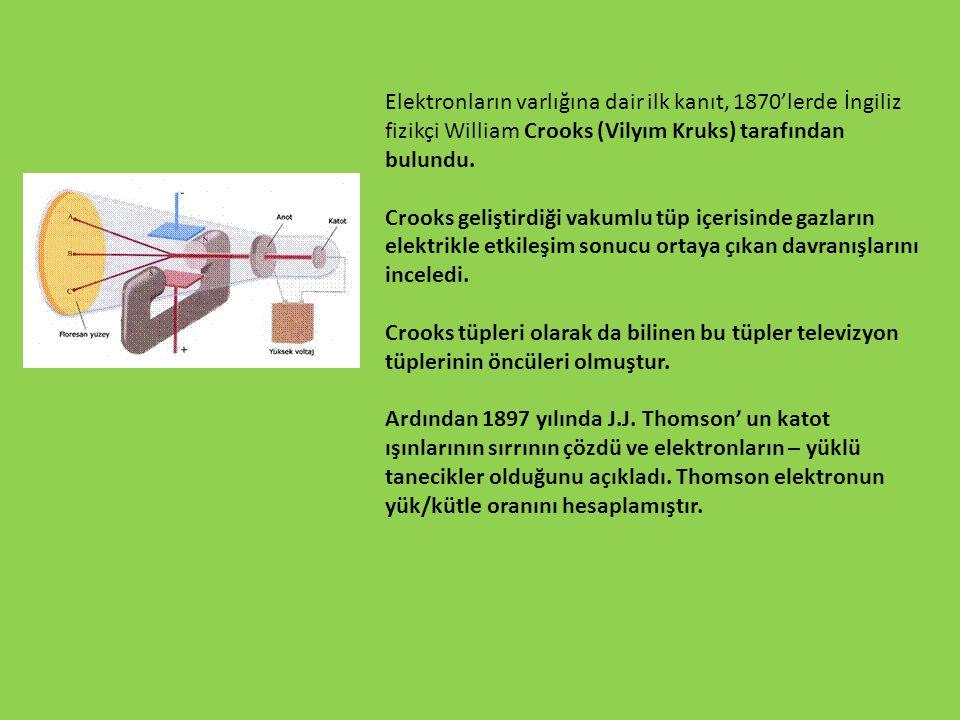 Elektronların varlığına dair ilk kanıt, 1870'lerde İngiliz fizikçi William Crooks (Vilyım Kruks) tarafından bulundu. Crooks geliştirdiği vakumlu tüp i