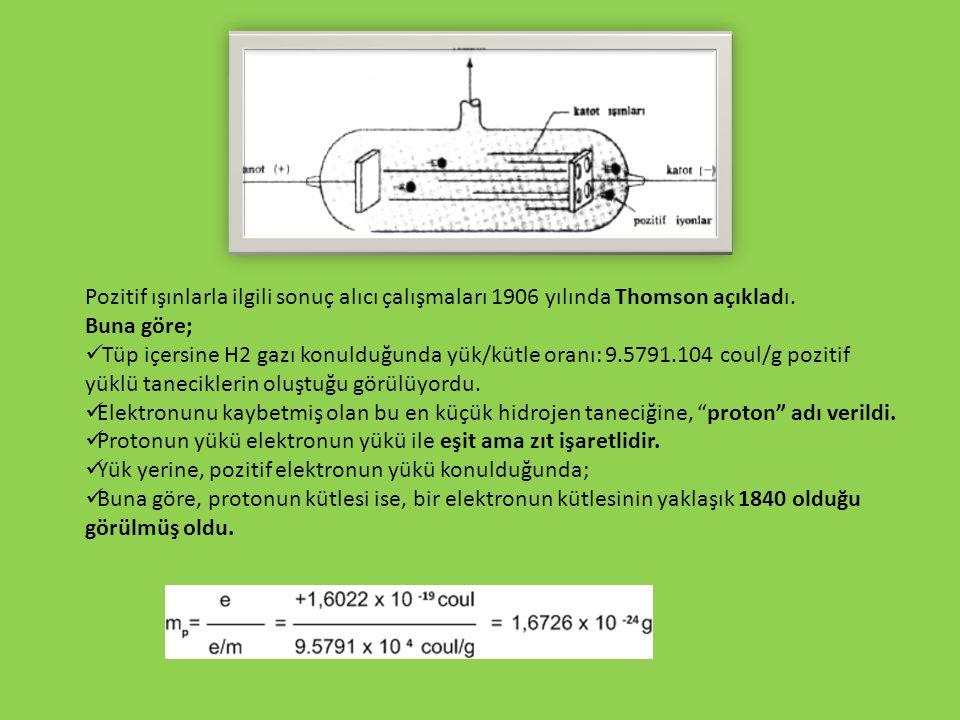 Pozitif ışınlarla ilgili sonuç alıcı çalışmaları 1906 yılında Thomson açıkladı. Buna göre; Tüp içersine H2 gazı konulduğunda yük/kütle oranı: 9.5791.1