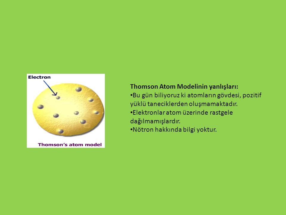 Thomson Atom Modelinin yanlışları: Bu gün biliyoruz ki atomların gövdesi, pozitif yüklü taneciklerden oluşmamaktadır. Elektronlar atom üzerinde rastge