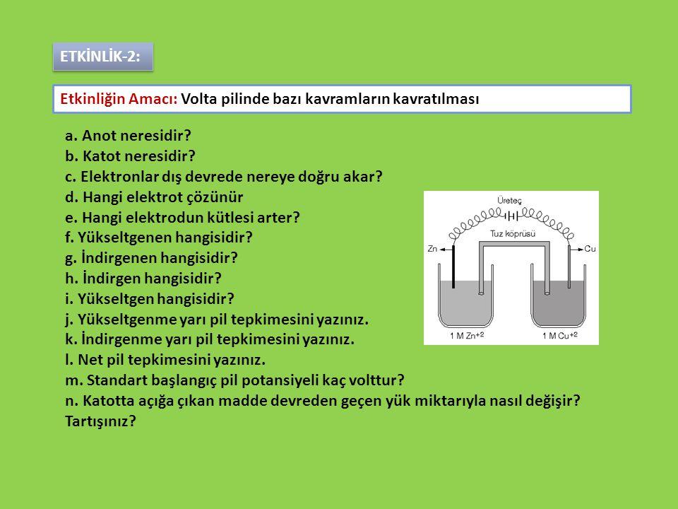 a. Anot neresidir? b. Katot neresidir? c. Elektronlar dış devrede nereye doğru akar? d. Hangi elektrot çözünür e. Hangi elektrodun kütlesi arter? f. Y